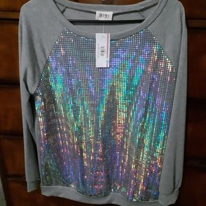 Holographic long sleeve top